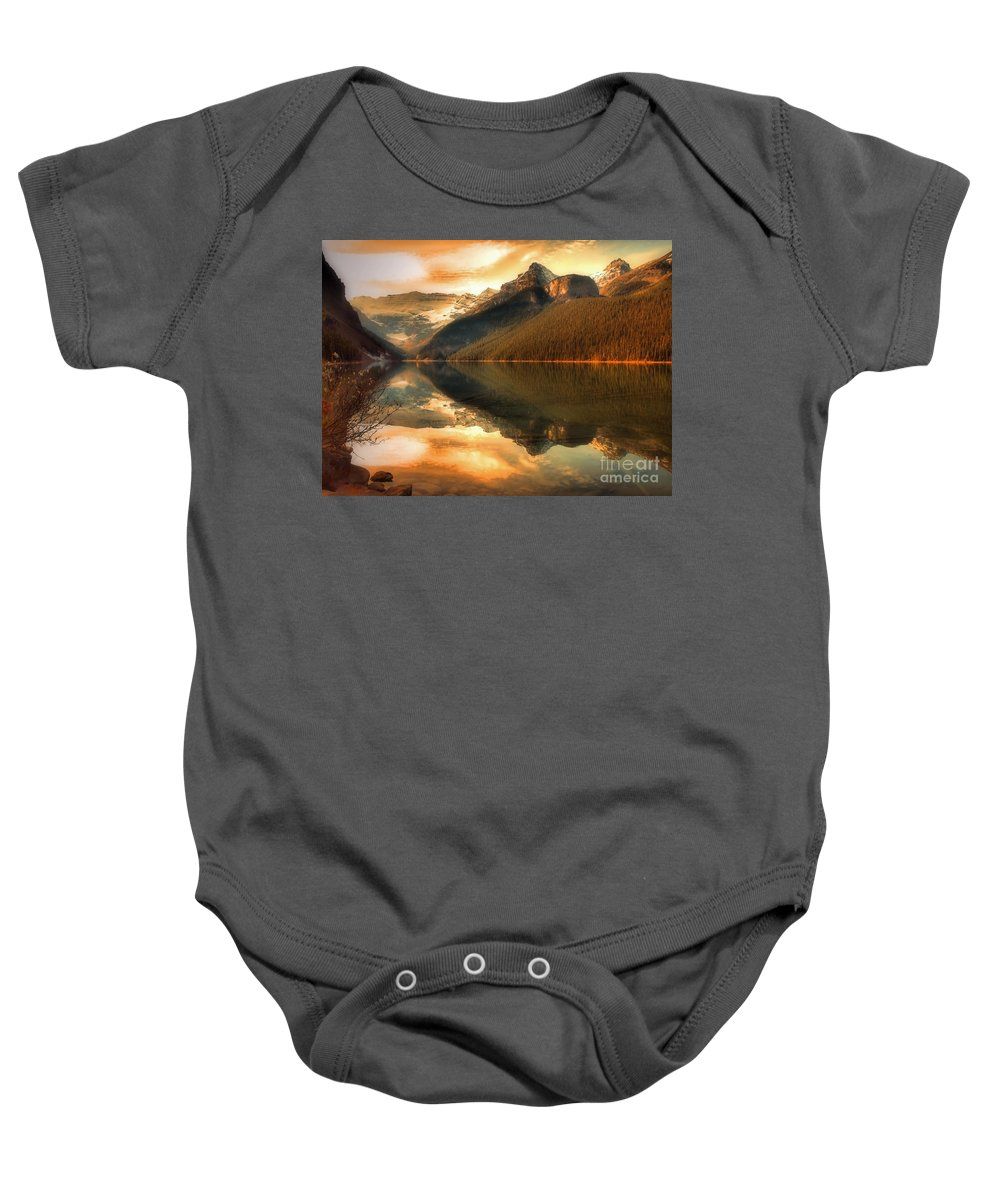 Nature Baby Onesie featuring the photograph The Quiet Golden Glow by Tara Turner
