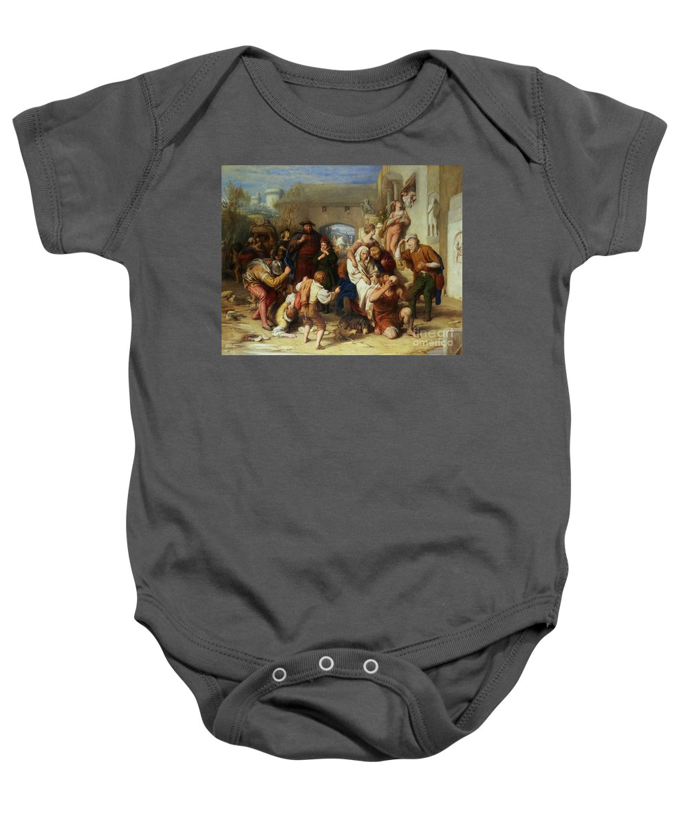 The Seven Ages Of Man Baby Onesie featuring the painting The Seven Ages Of Man by William Mulready