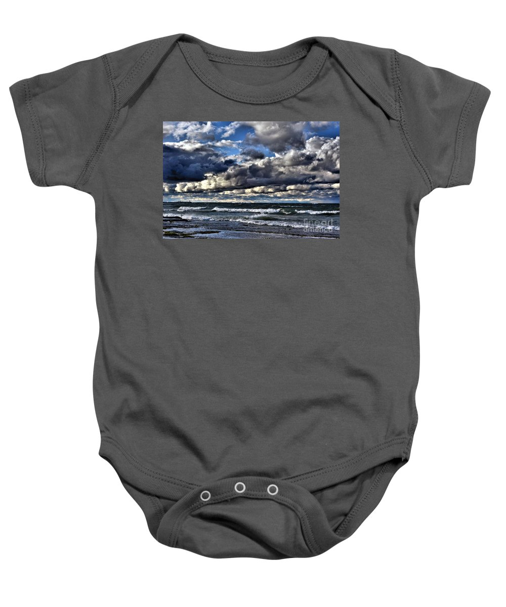 Clouds Baby Onesie featuring the photograph The Shore by Andrea Kollo