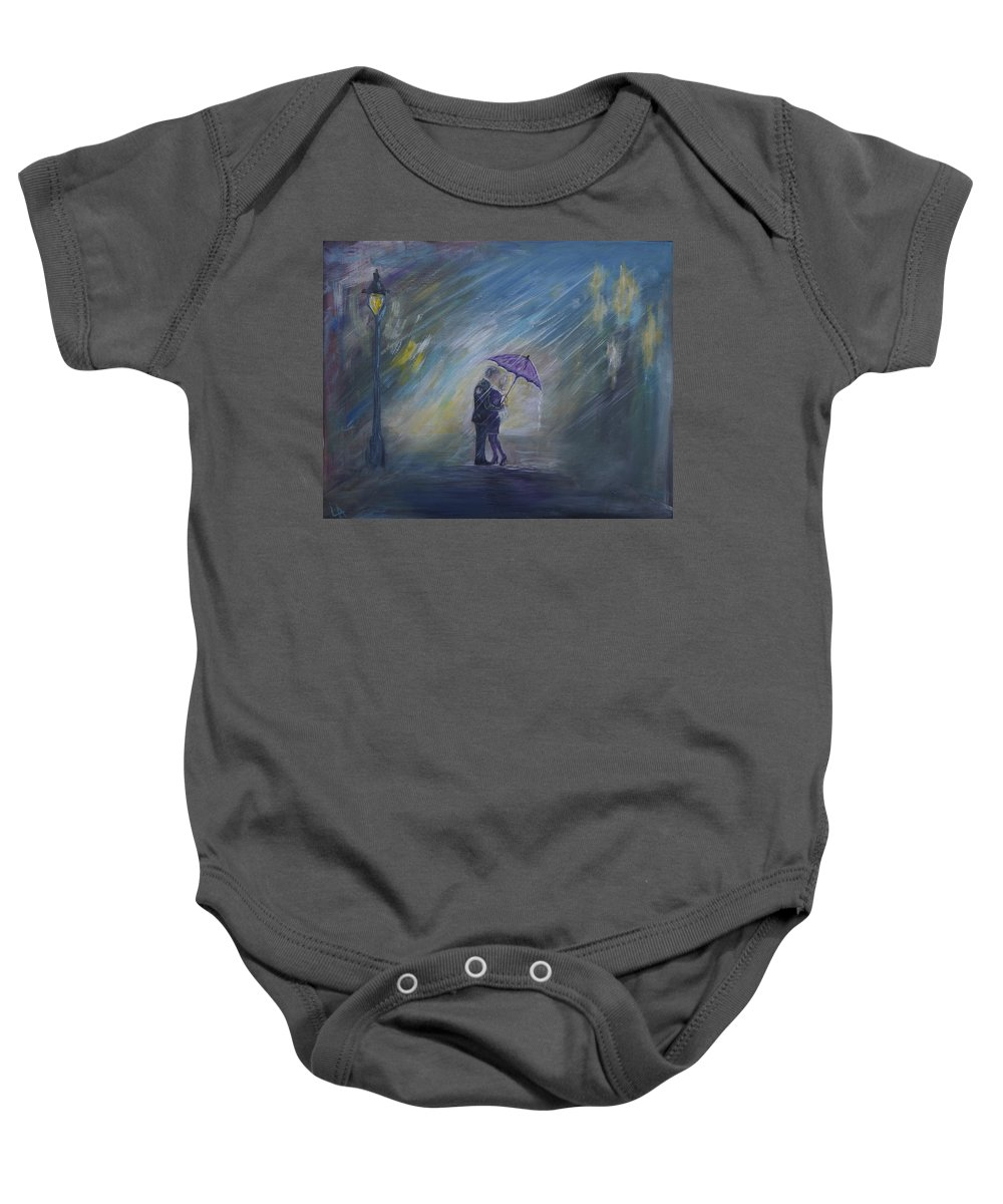 Couple Art Baby Onesie featuring the painting The Taxi Is Coming by Leslie Allen