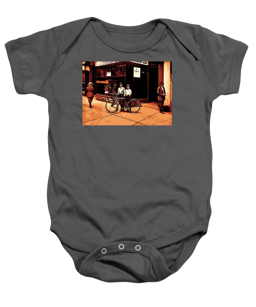 Boy Boys Vintage Poster Store Bicycle Woman Man Comic Art Baby Onesie featuring the mixed media The Two Boys by Steve K