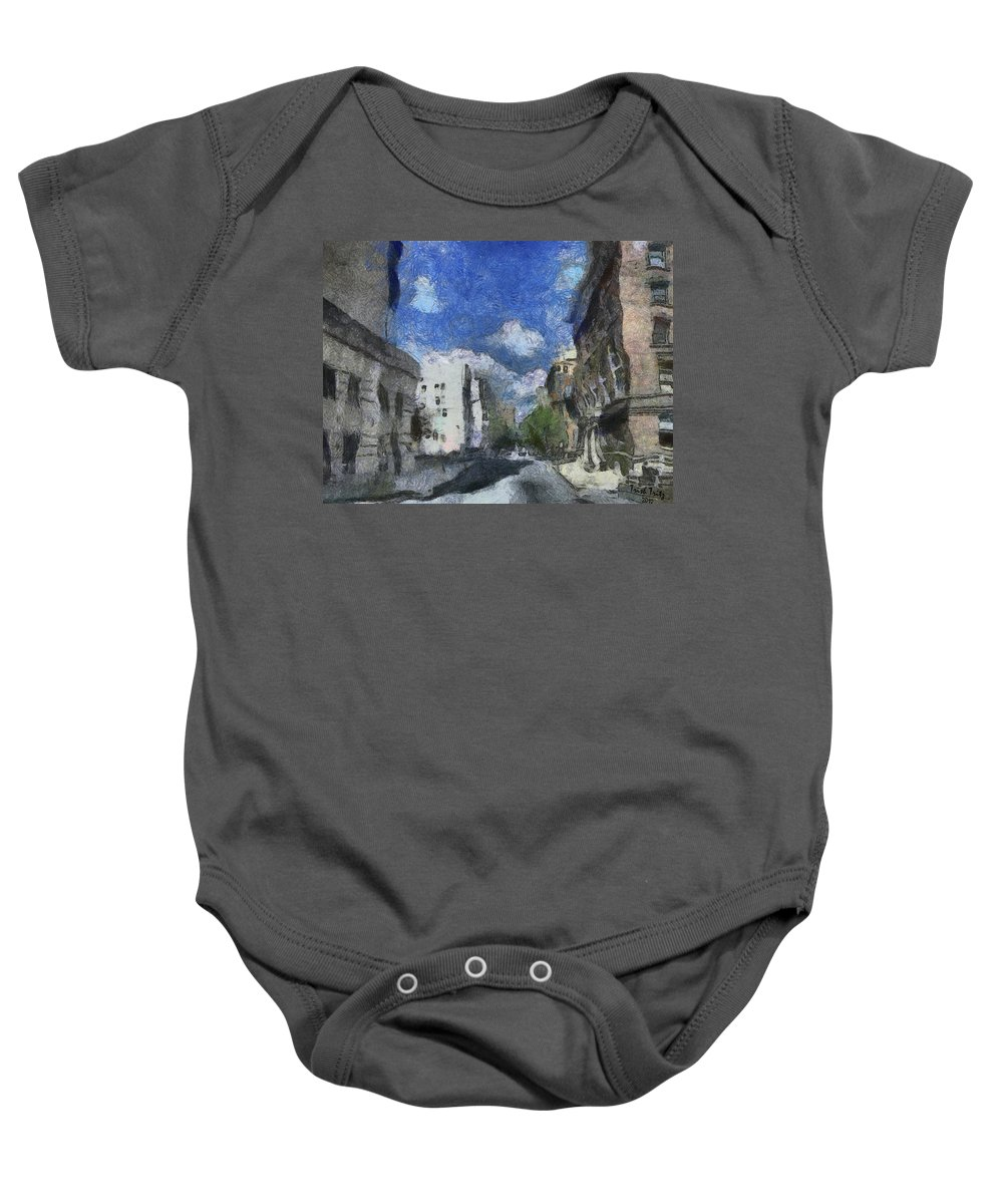 City Baby Onesie featuring the photograph The Walls Are Tumblin' by Trish Tritz