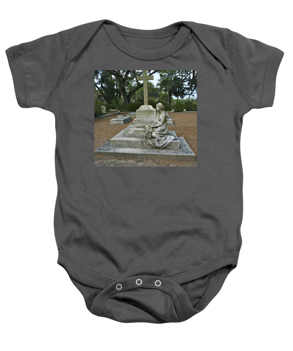 Cemetery Baby Onesie featuring the photograph The Watcher by Catherine Conroy