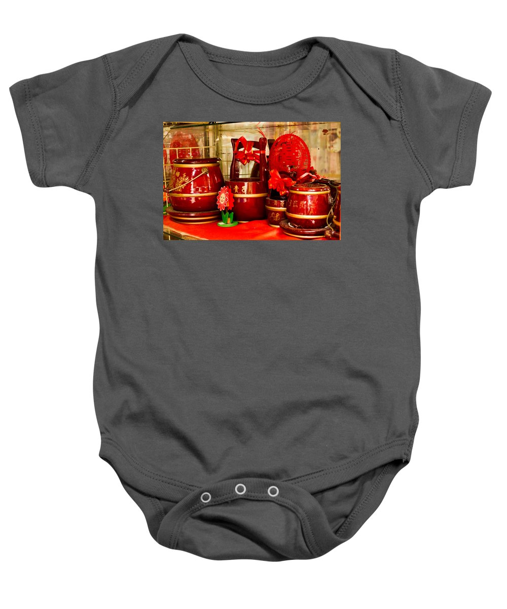Asian Baby Onesie featuring the photograph the Wedding Gifts Shop at the Qibao Ancient Town by Jiayin Ma