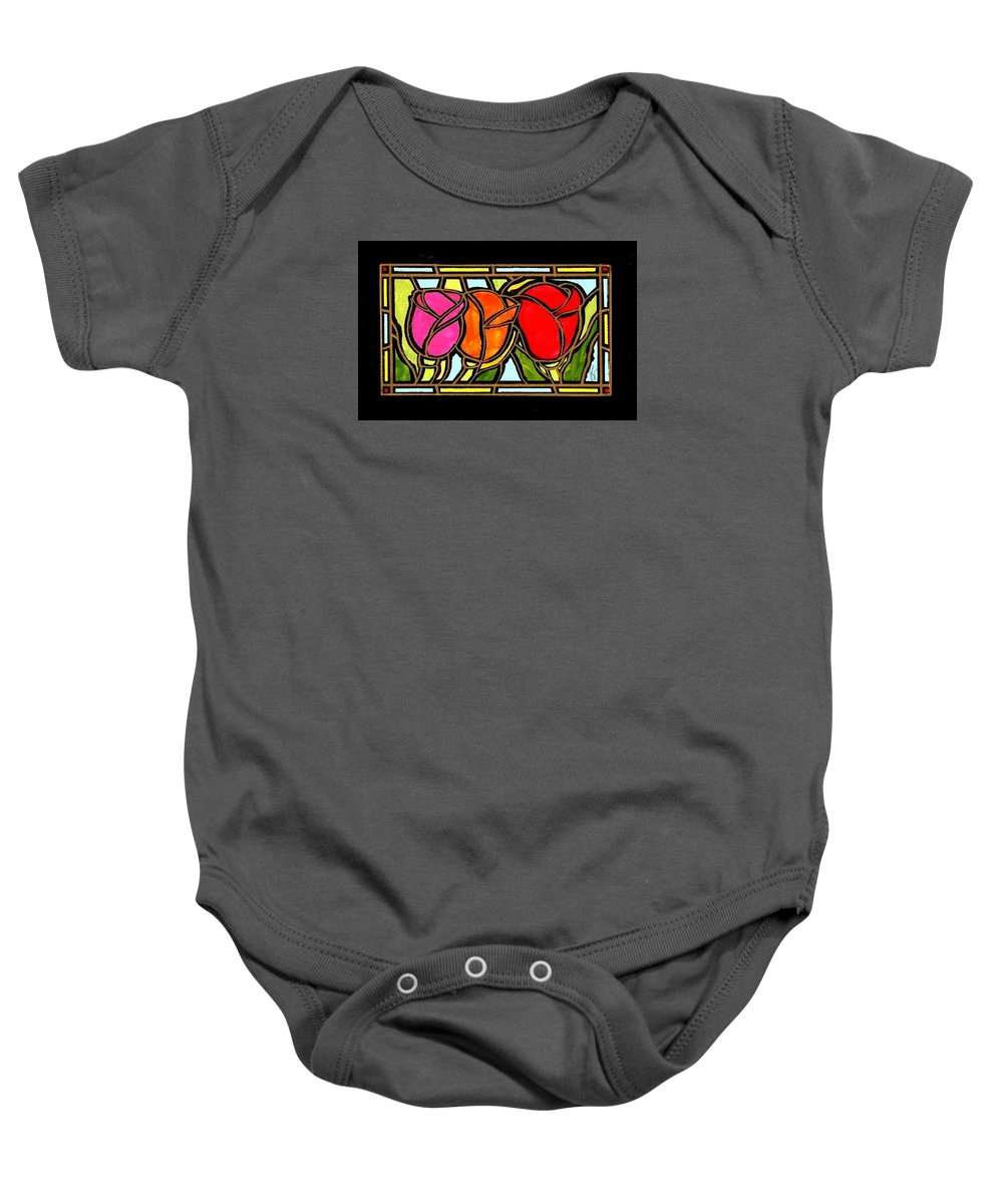 Tulips Baby Onesie featuring the painting Three Buds by Jim Harris