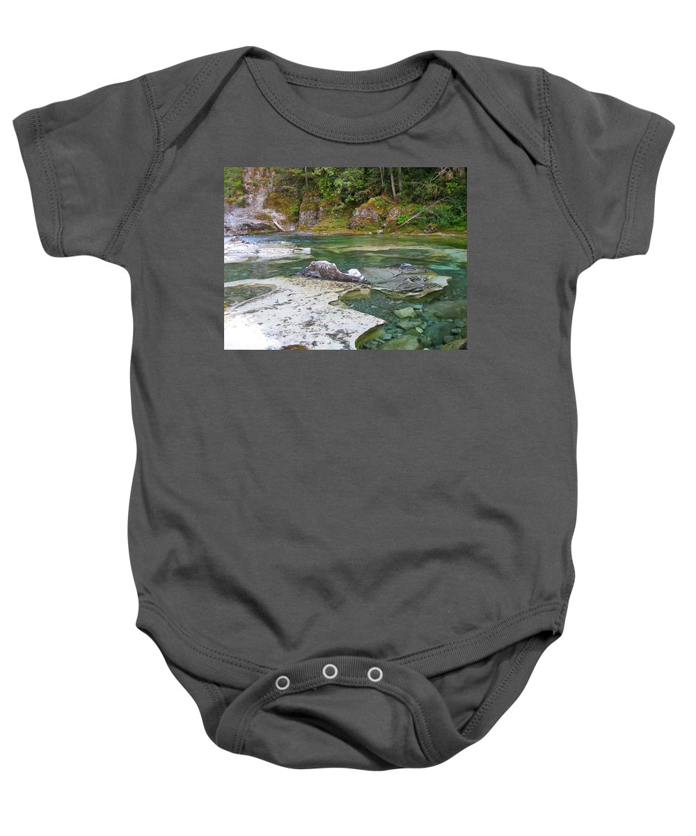 Swimming Hole Baby Onesie featuring the photograph Three Pools 2 by Linda Hutchins