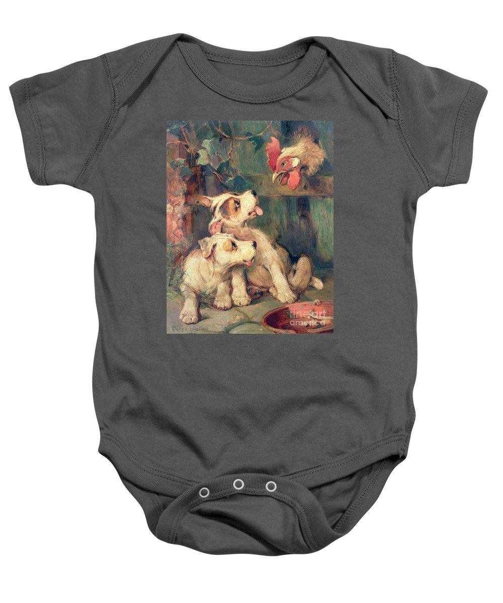 Cockerel; Rooster; Puppy; Bone; Puppies Baby Onesie featuring the painting Three's A Crowd by Philip Eustace Stretton
