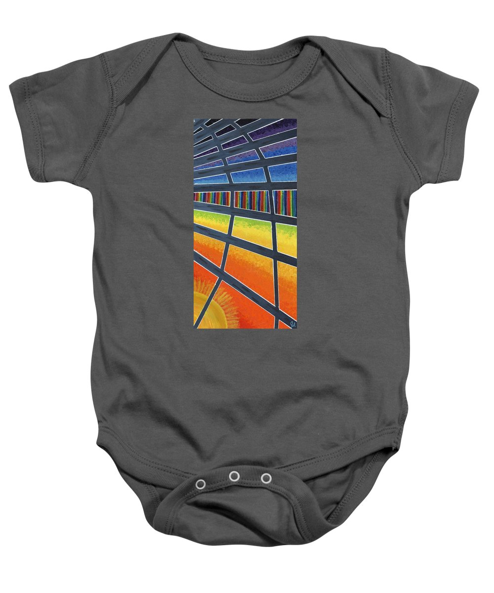 Windows Baby Onesie featuring the painting Through The Windows Of The Ship by Jeremy Aiyadurai