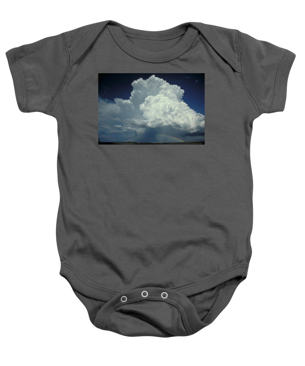 Thunderstorm Baby Onesie featuring the photograph Thunderclouds And Rinbow by Garry McMichael