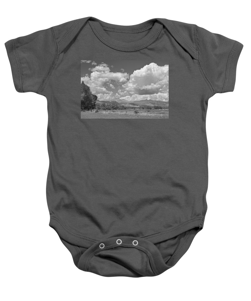 Clouds Baby Onesie featuring the photograph Thunderstorm Clouds Boiling Over The Colorado Rocky Mountains Bw by James BO Insogna