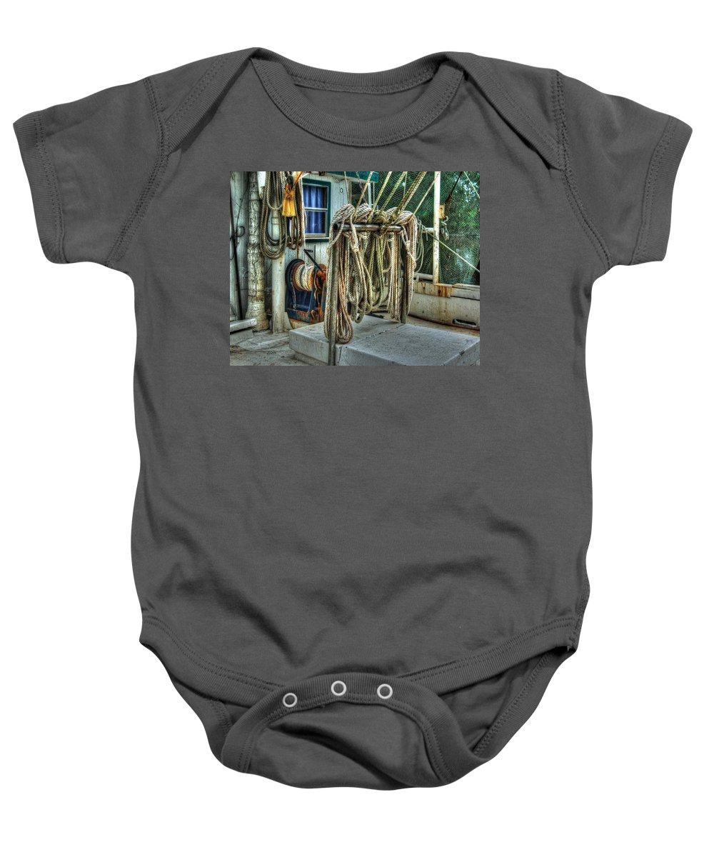 Alabama Photographer Baby Onesie featuring the digital art Tied Up Lines by Michael Thomas