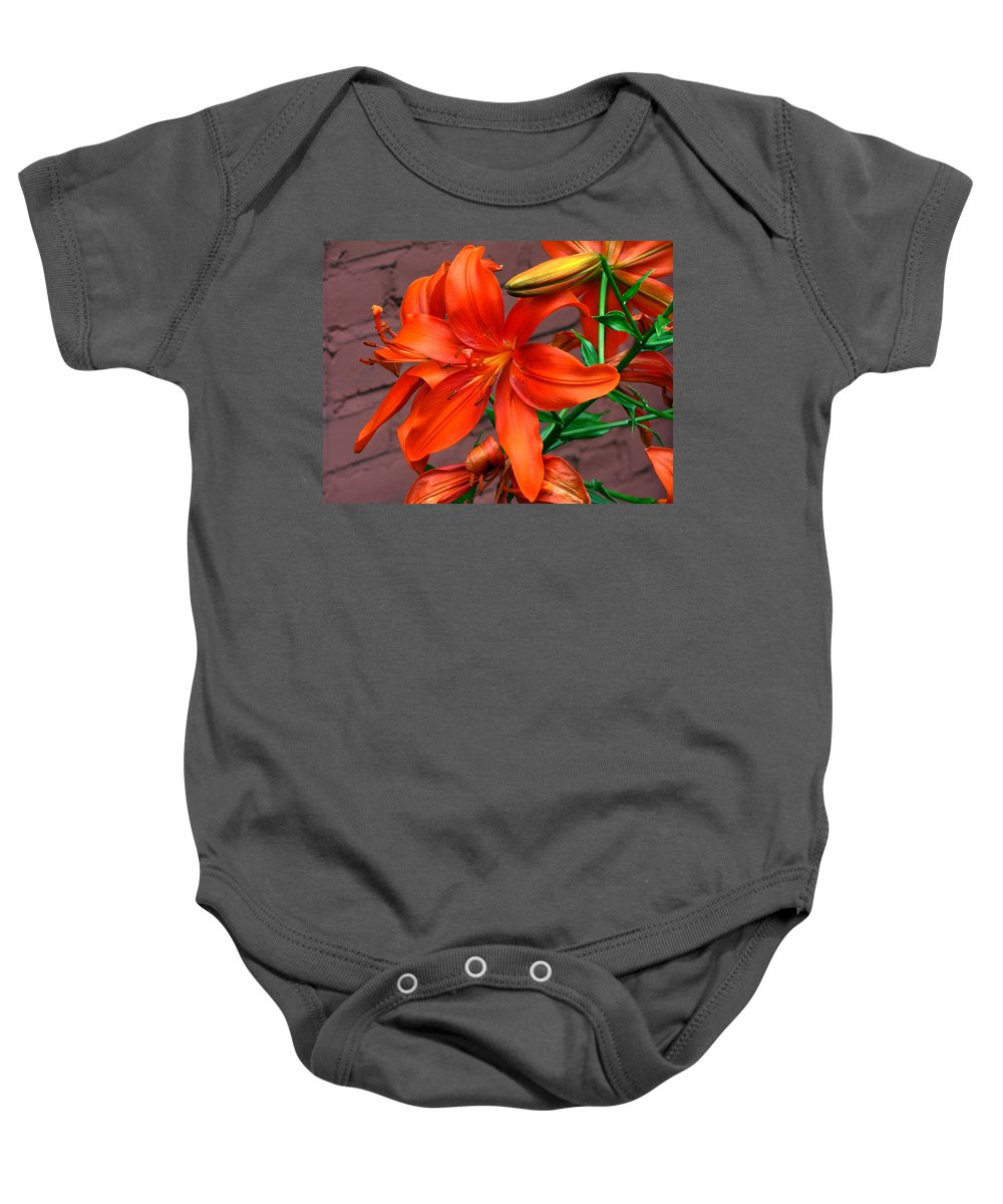 Tiger Lily Flower Baby Onesie featuring the photograph Tiger Lily by Denise Keegan Frawley