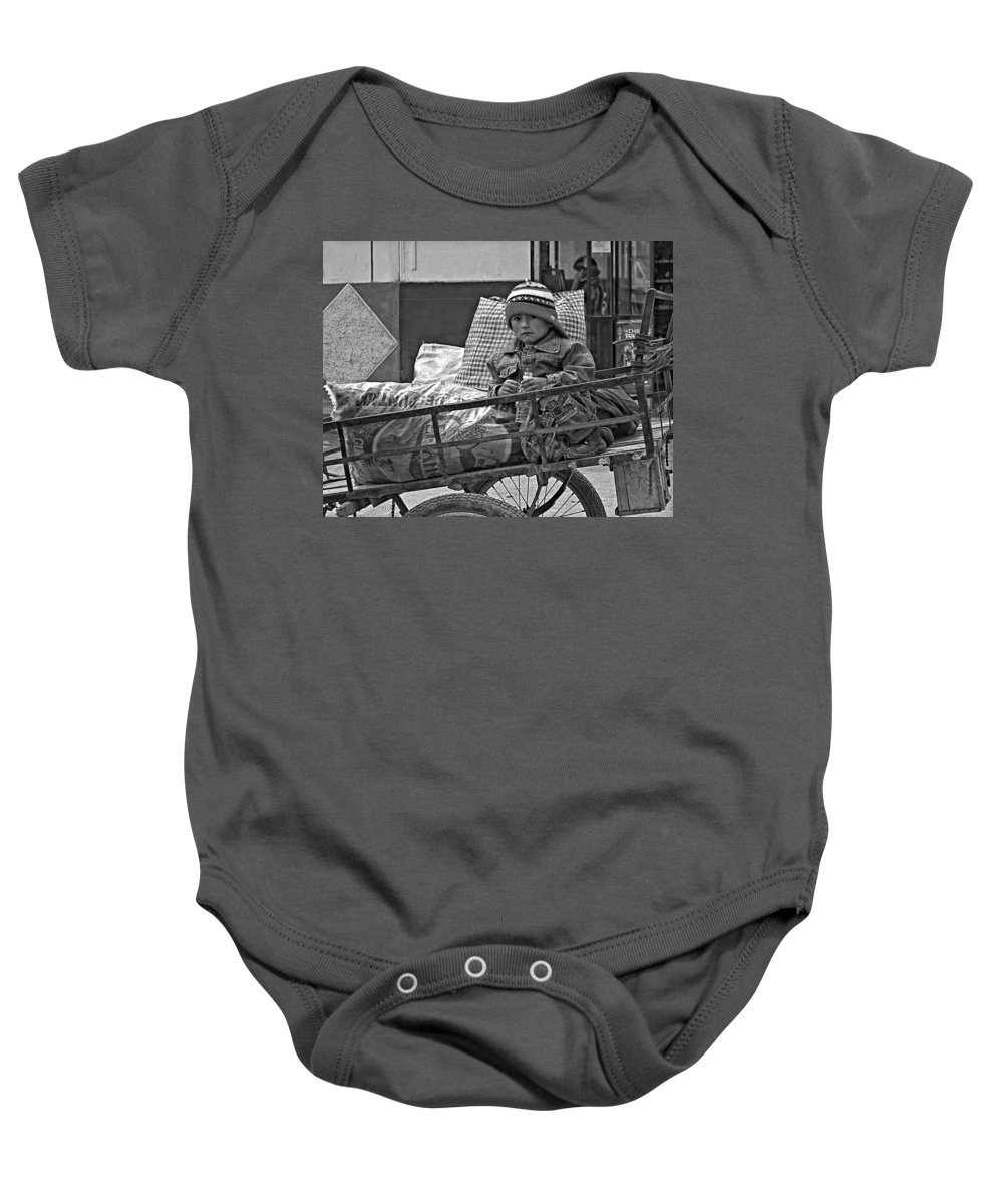 Peru Baby Onesie featuring the photograph Tiny Biker 2 Monochrome by Steve Harrington