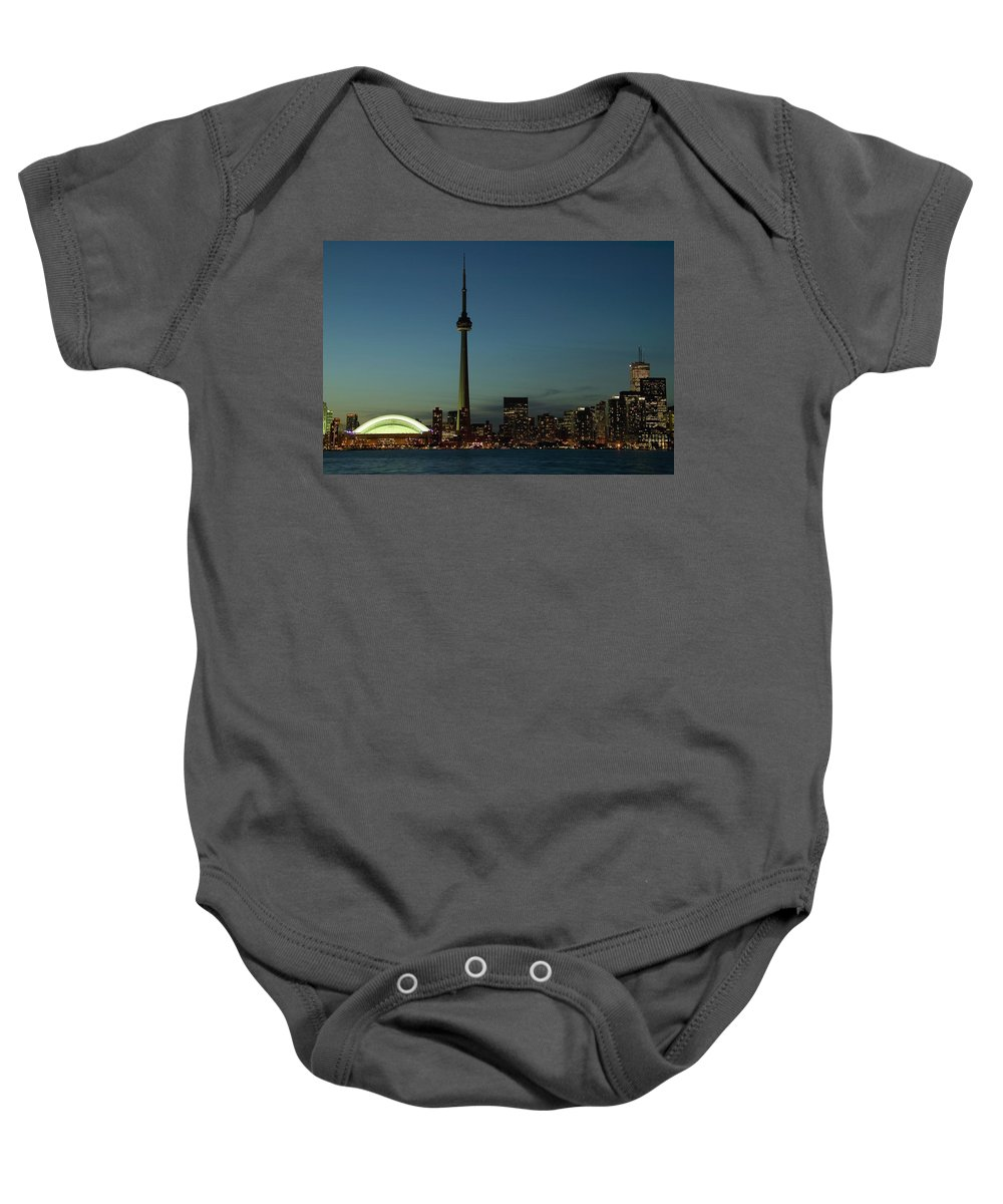 Architectural Exteriors Baby Onesie featuring the photograph Toronto Skyline, Toronto, Ontario by Alan Marsh