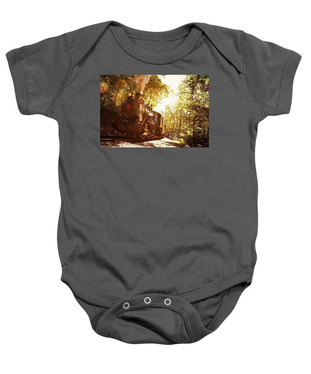 Train Ancient Steam Antique Wilmington Railroad Baby Onesie featuring the photograph Trains A Coming by Alice Gipson