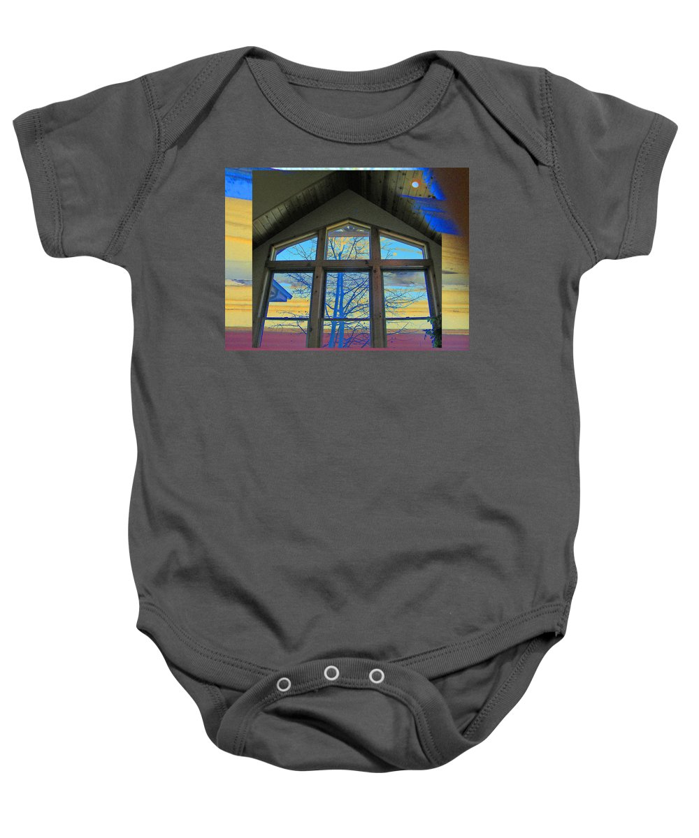 Abstract Baby Onesie featuring the photograph Tree Through The Window by Lenore Senior
