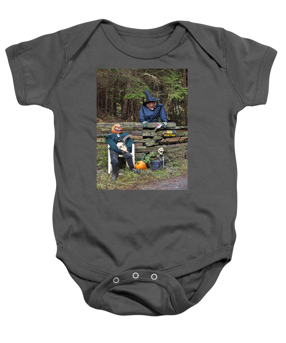 Halloween Baby Onesie featuring the photograph Trick Or Treat by Derek Holzapfel