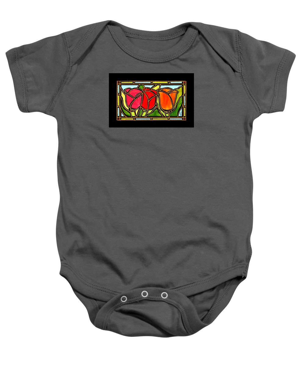 Tulips Baby Onesie featuring the painting Tulip Friends by Jim Harris