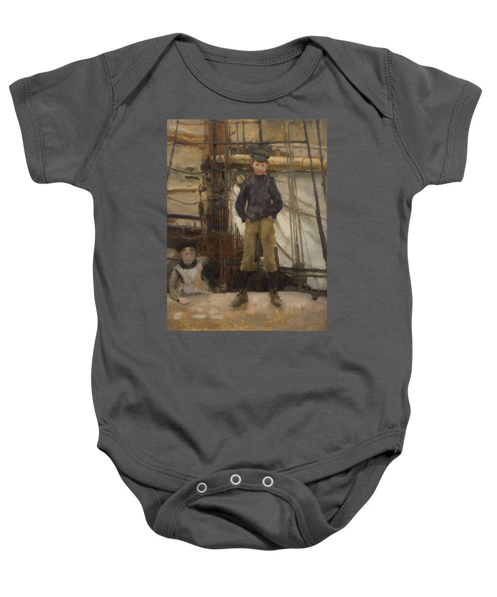 Boy; Boys; Cornish; Innocent; Angelic; Child; Cap; Rigging; Newlyn School Baby Onesie featuring the painting Two Children On Deck by Henry Scott Tuke