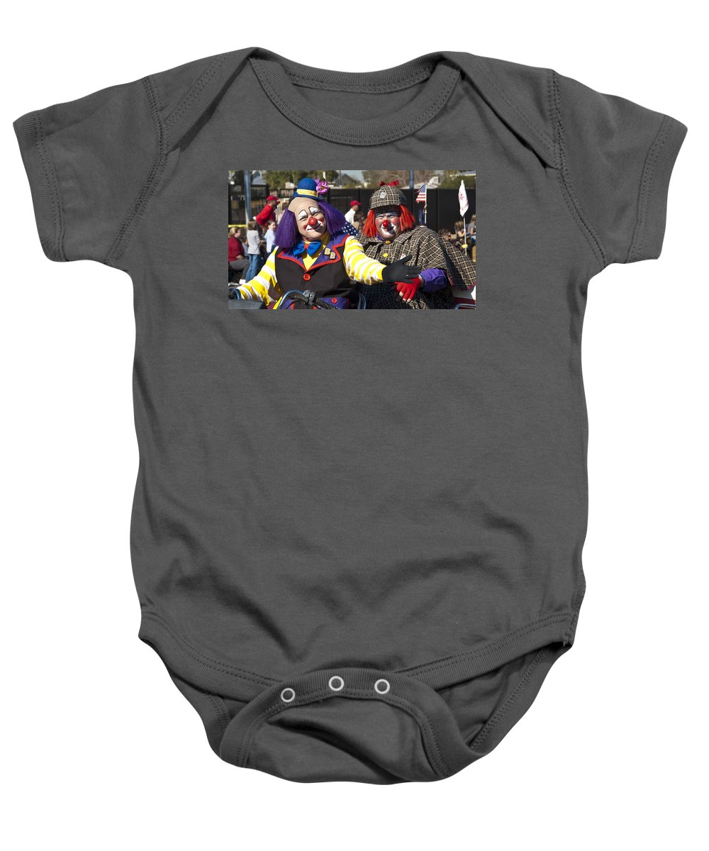 Clowns Baby Onesie featuring the photograph Two Clowns by Jon Berghoff