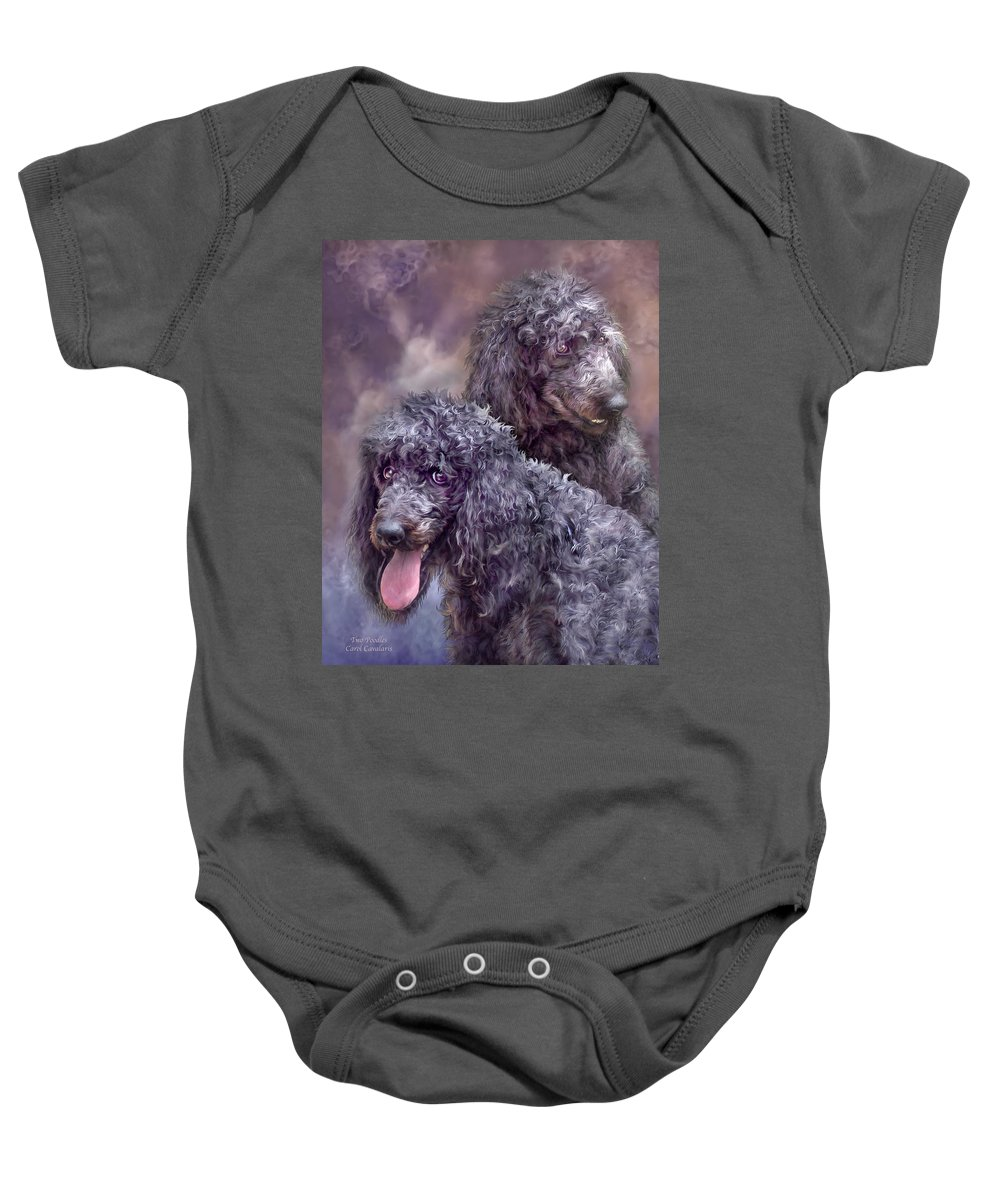 Poodle Baby Onesie featuring the mixed media Two Poodles by Carol Cavalaris