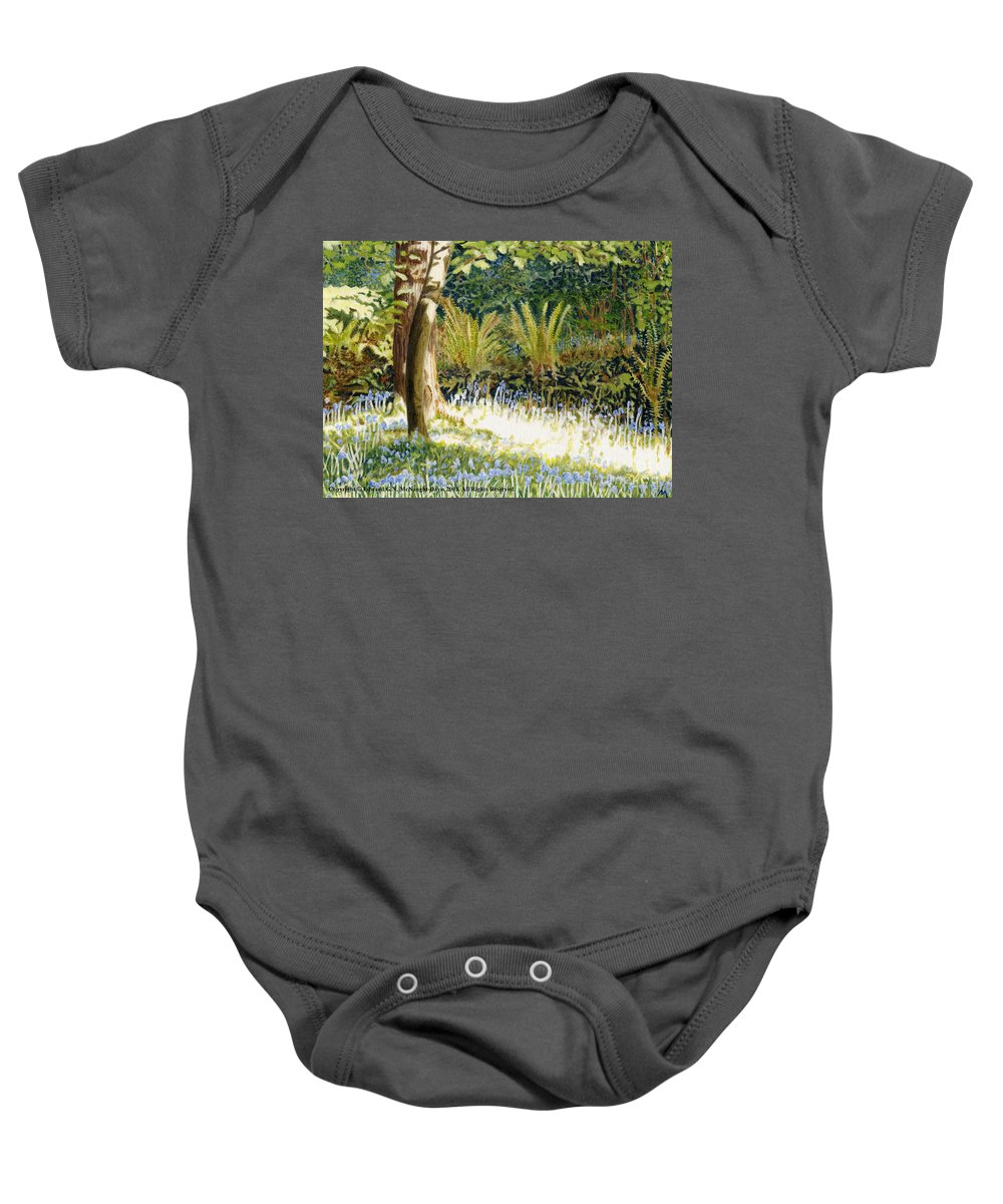 Sunlit Bluebells Baby Onesie featuring the painting Sunlit Bluebells Llanina Ceredigion by Edward McNaught-Davis