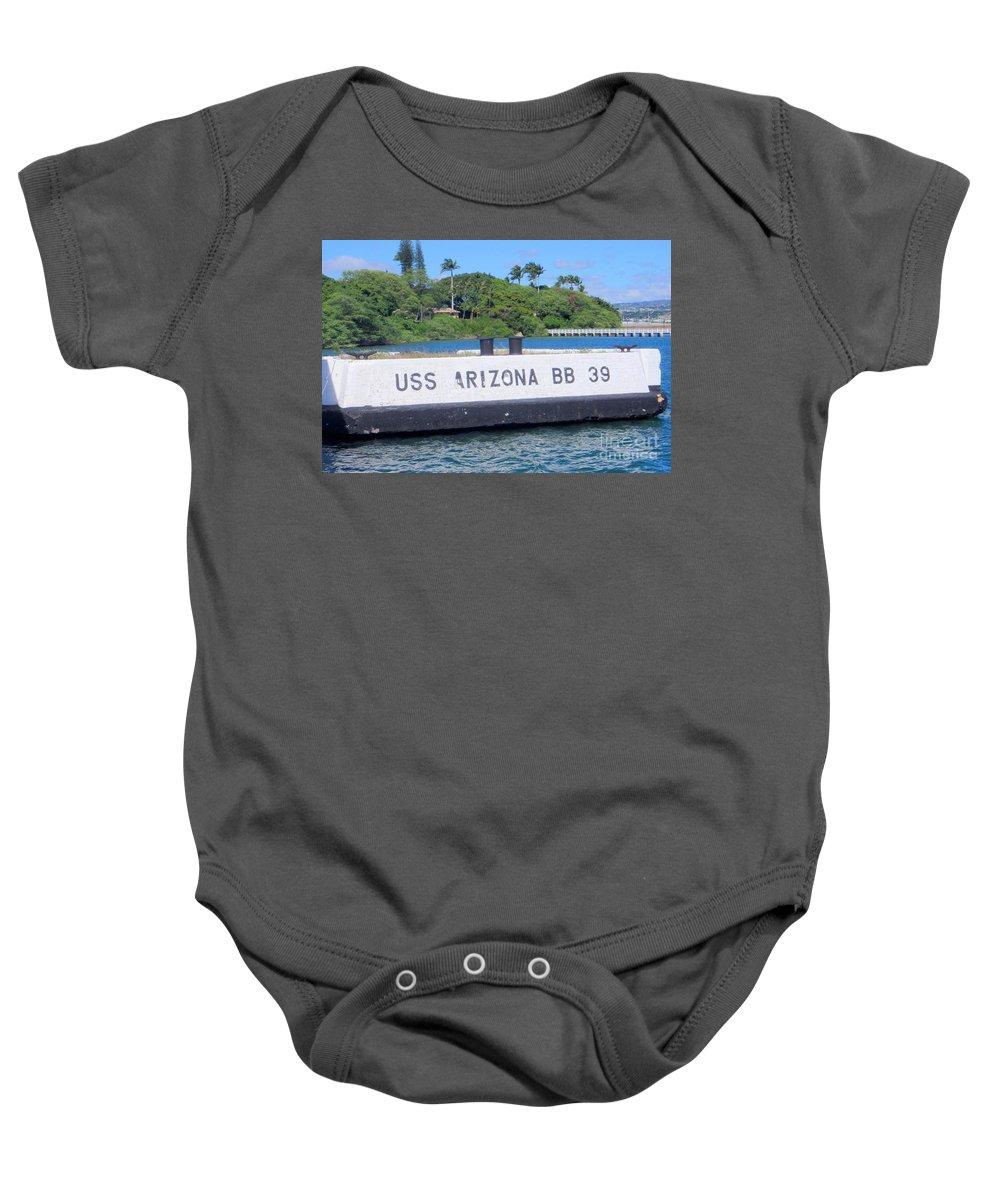 Uss Arizona Baby Onesie featuring the photograph Uss Arizona Bb 39 Marker by Mary Deal
