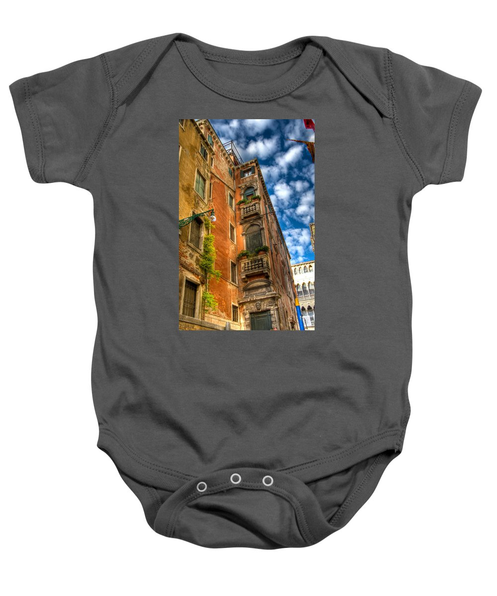 Venice Baby Onesie featuring the photograph Venice Apartment by Jon Berghoff
