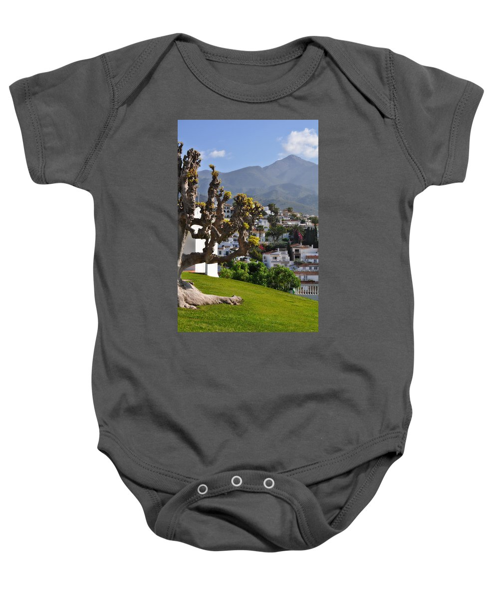 View From The Parador Nerja Baby Onesie featuring the photograph View From The Parador Nerja by Mary Machare