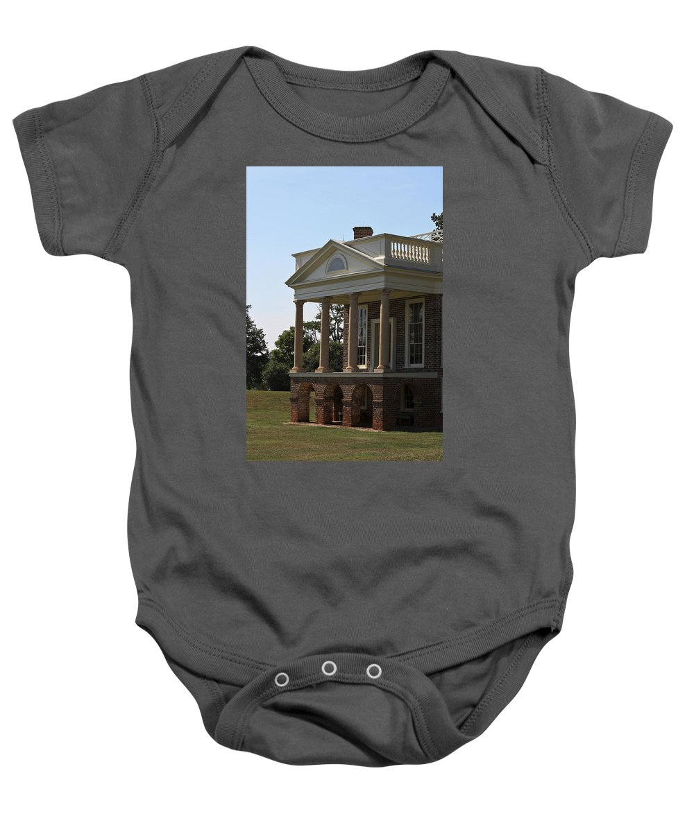 Poplar Forest Baby Onesie featuring the photograph View Of South Portico At Poplar Forest by Teresa Mucha