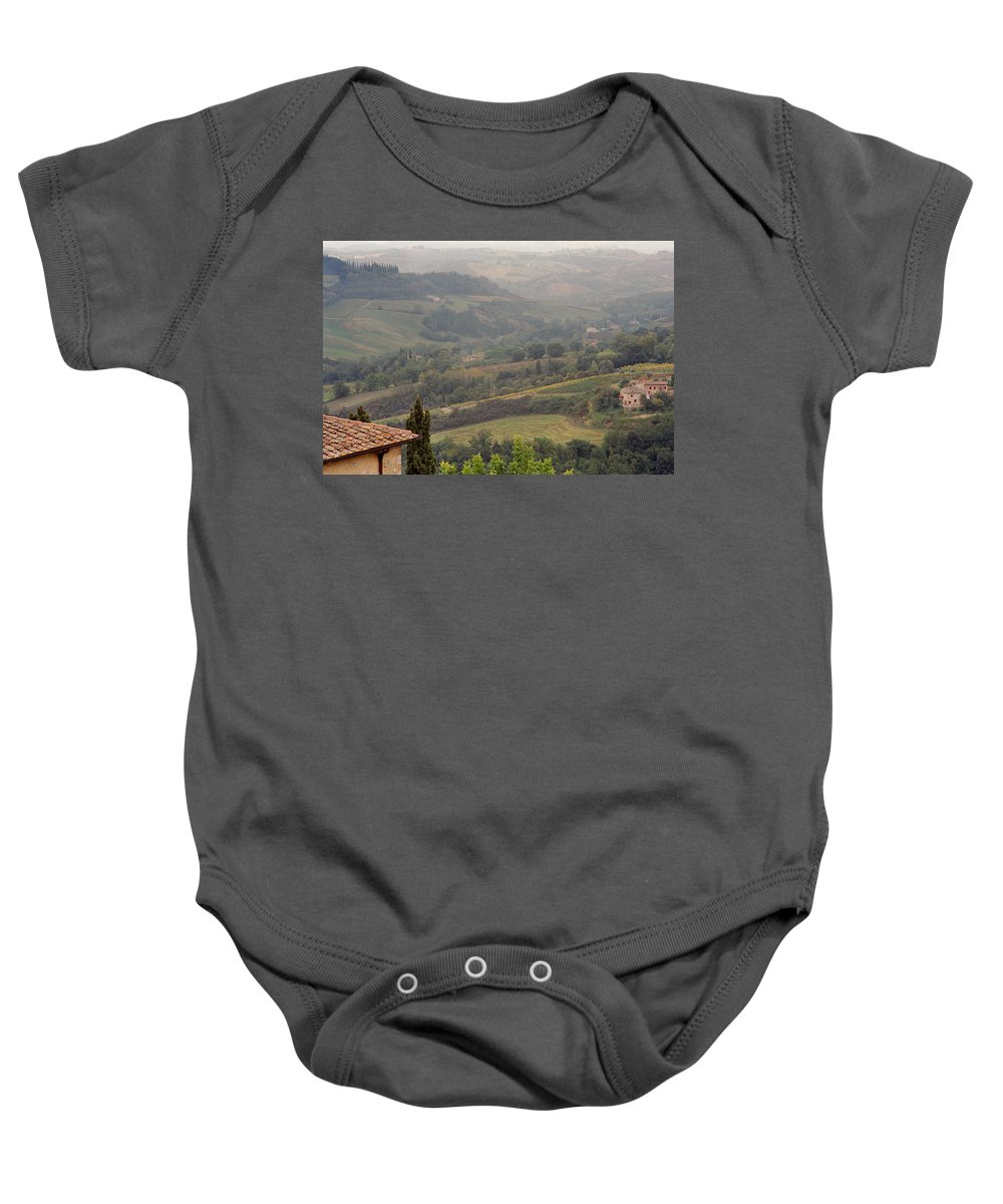 San Gimignano Baby Onesie featuring the photograph View Over The Tuscan Hills From San Gimignano Italy by Greg Matchick