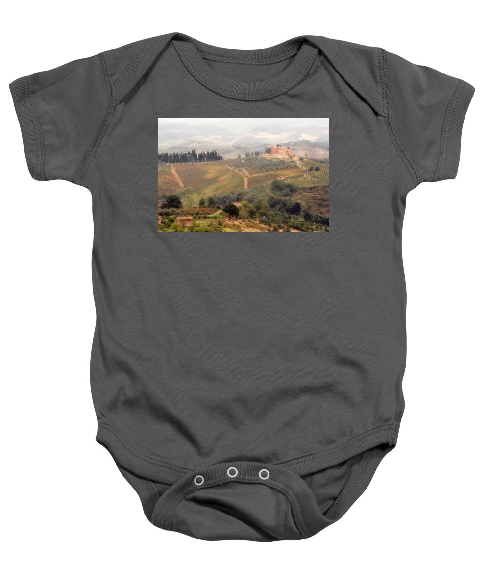 Tuscany Baby Onesie featuring the photograph Villa On A Hill In Tuscany by Greg Matchick