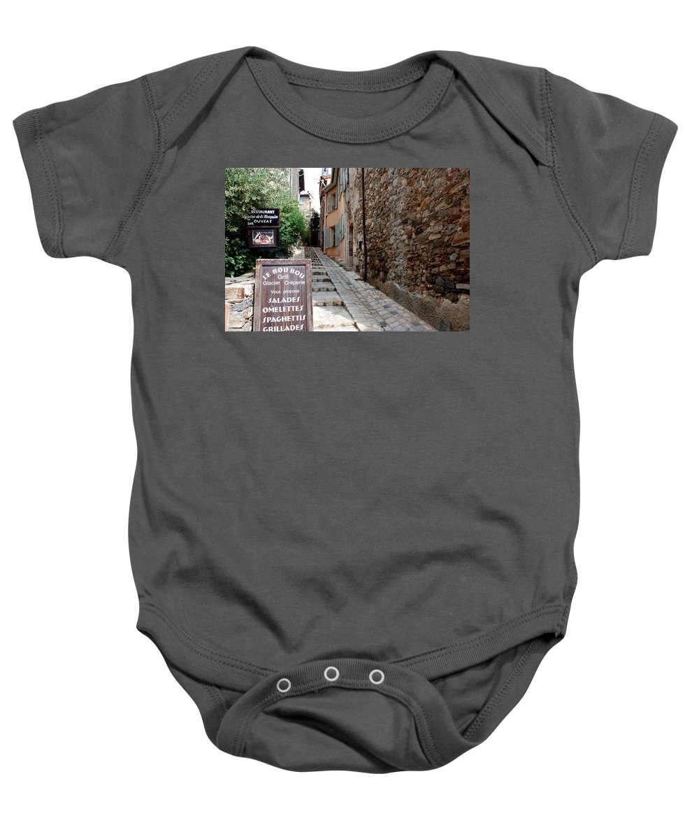 Provence Baby Onesie featuring the photograph Village Alley by Dany Lison