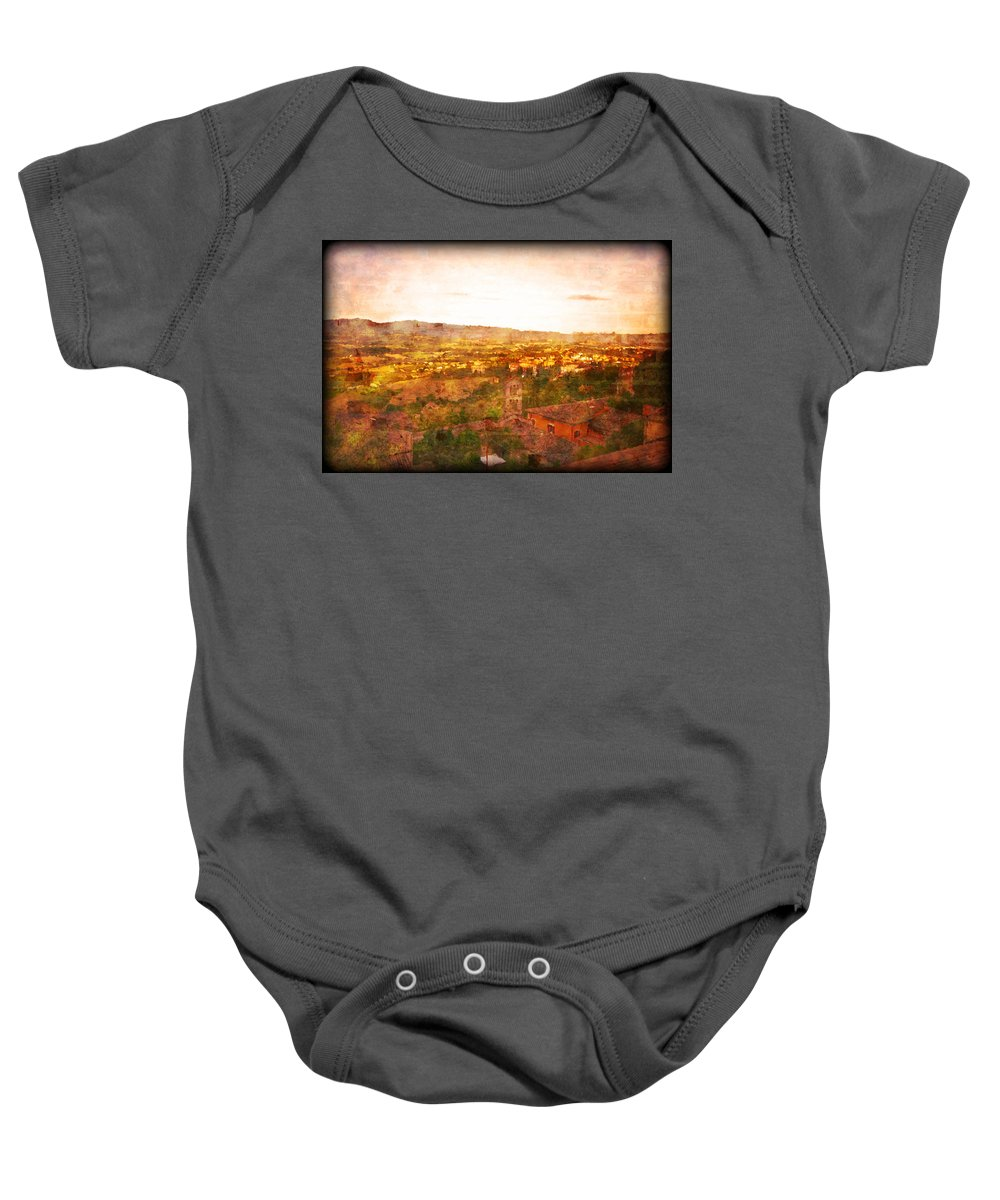Something Different Italian Landscape Baby Onesie featuring the photograph Vintage Landscape Florence Italy by Femina Photo Art By Maggie
