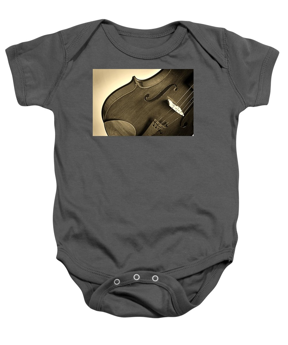 Violin Baby Onesie featuring the photograph Violin Isolated by M K Miller