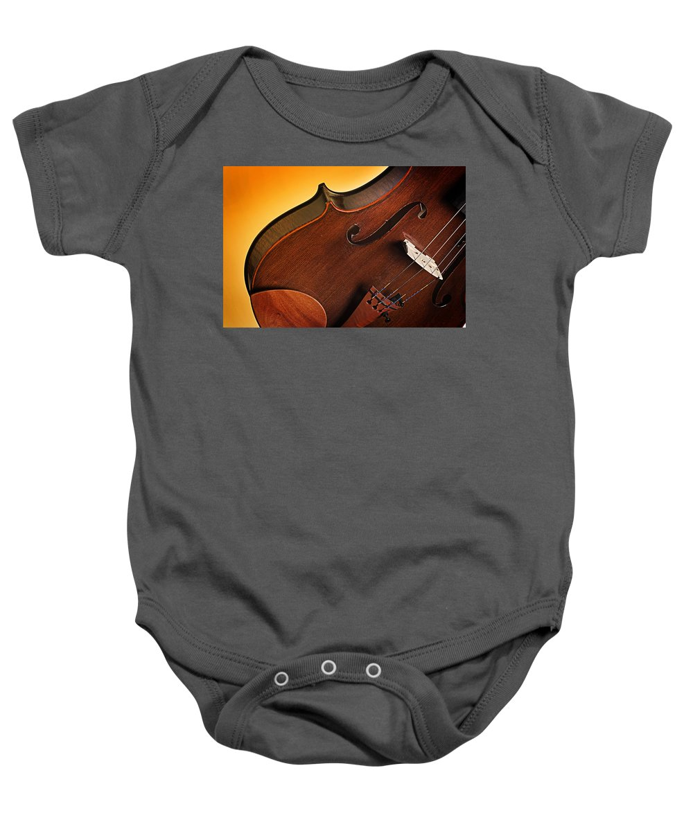 Violin Baby Onesie featuring the photograph Violin Isolated On Gold by M K Miller