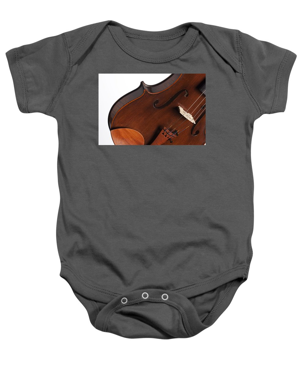Violin Baby Onesie featuring the photograph Violin Isolated On White by M K Miller