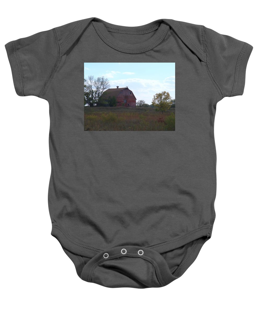 Barn Baby Onesie featuring the photograph Vulture Barn by Bonfire Photography