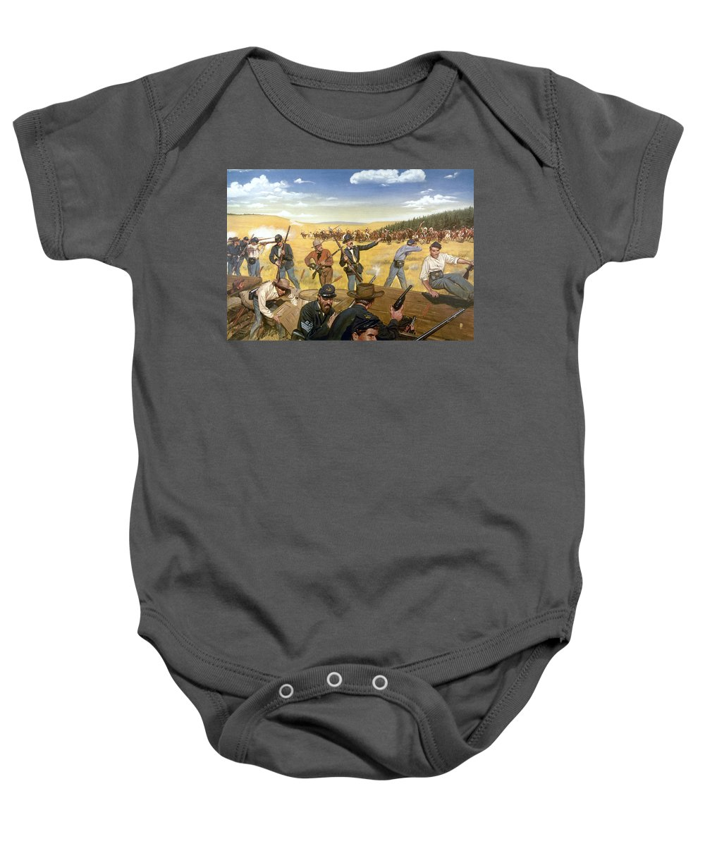 1867 Baby Onesie featuring the photograph Wagon Box Fight, 1867 by Granger