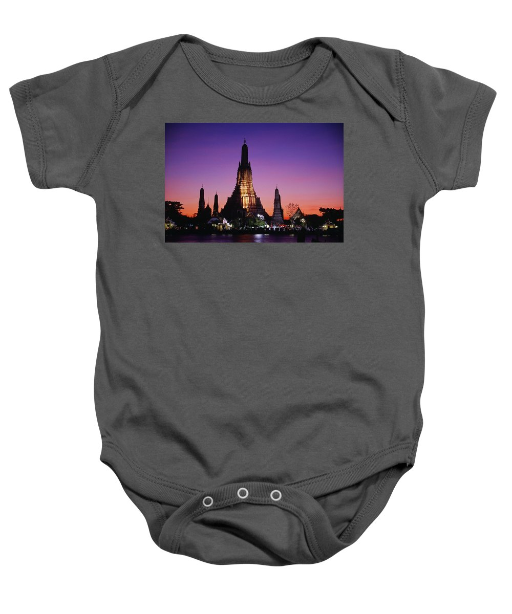Dawn Baby Onesie featuring the photograph Wat Arun In Bangkok, Thailand by Bilderbuch