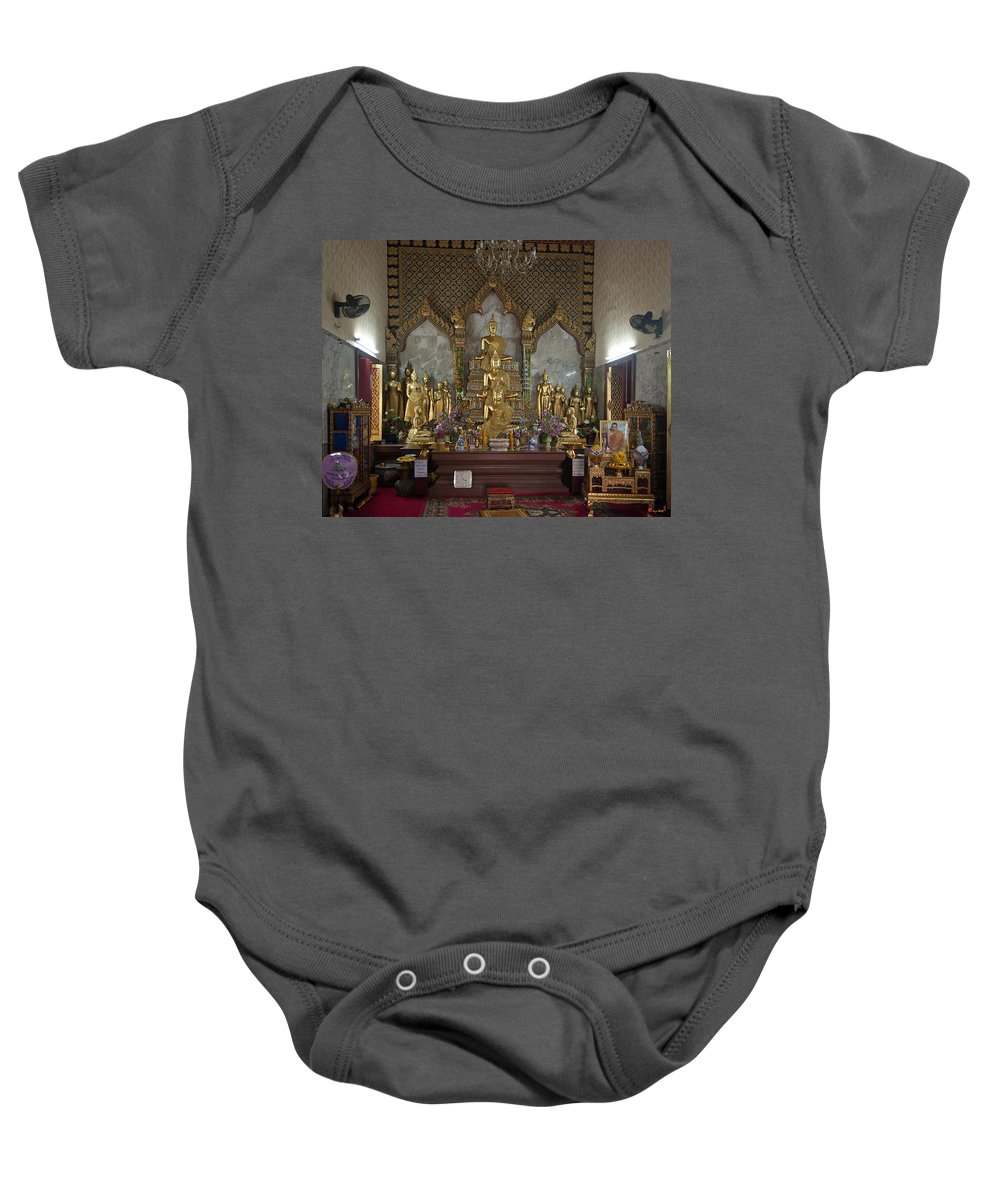 Bangkok Baby Onesie featuring the photograph Wat Chamni Hatthakan Ubosot Interior Dthb929 by Gerry Gantt