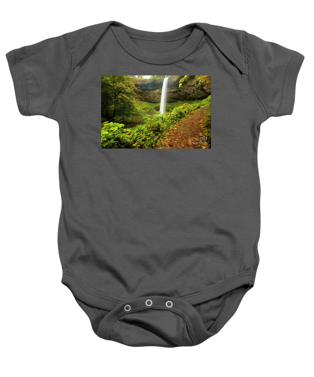 Silver Falls State Park Baby Onesie featuring the photograph Waterfall Along The Trail by Adam Jewell