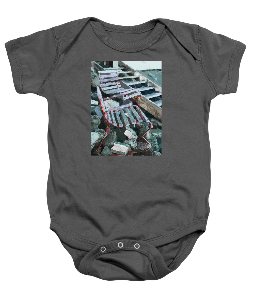 Chair Baby Onesie featuring the photograph We Will Not Be Moved by Steve Taylor