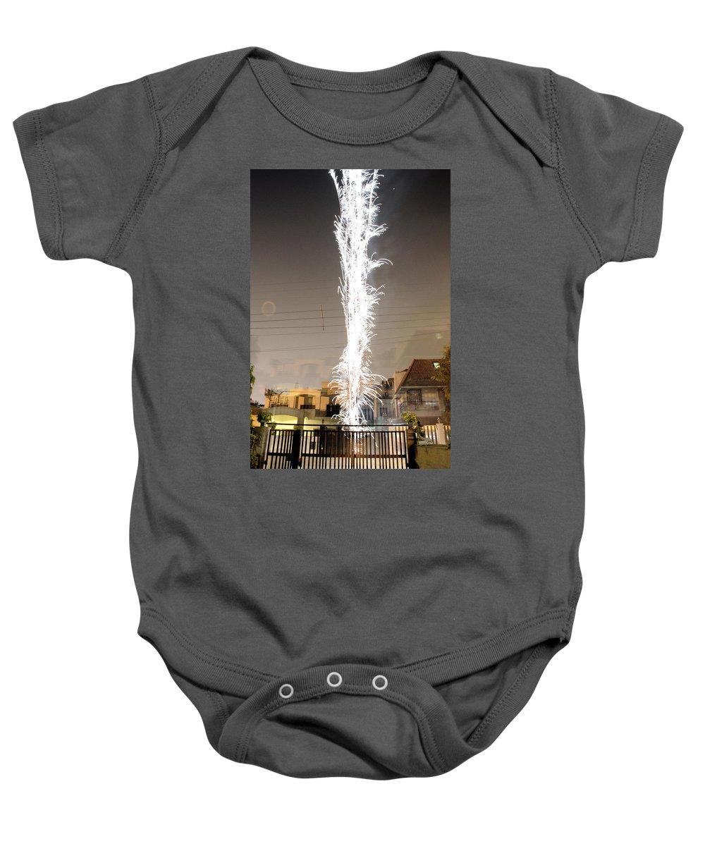 White Baby Onesie featuring the photograph White Fireworks by Sumit Mehndiratta