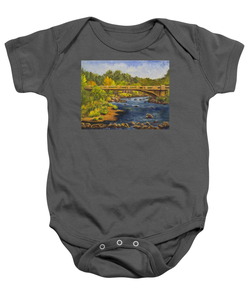 Landscape Baby Onesie featuring the painting Whitney Crossing by Jo-Anne Gazo-McKim