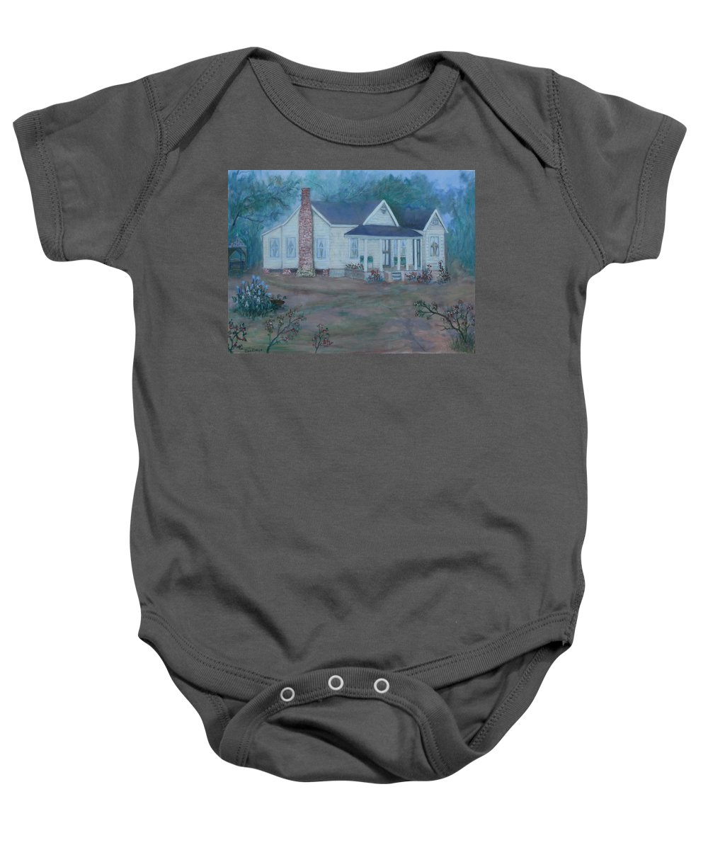 Landscape Baby Onesie featuring the painting Wilson Homestead by Ben Kiger