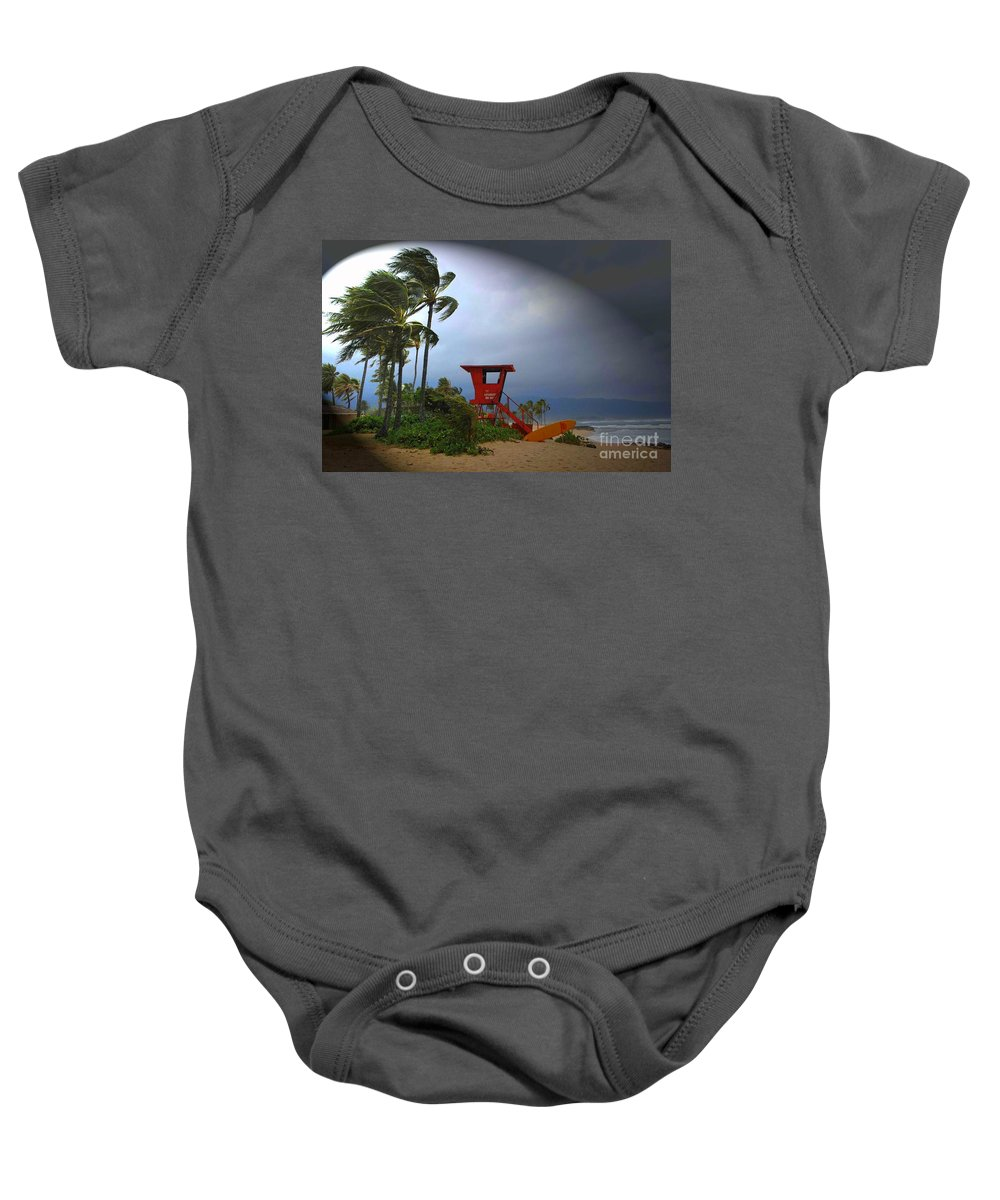 Hawaii Baby Onesie featuring the photograph Windy Day In Haleiwa by Mark Gilman