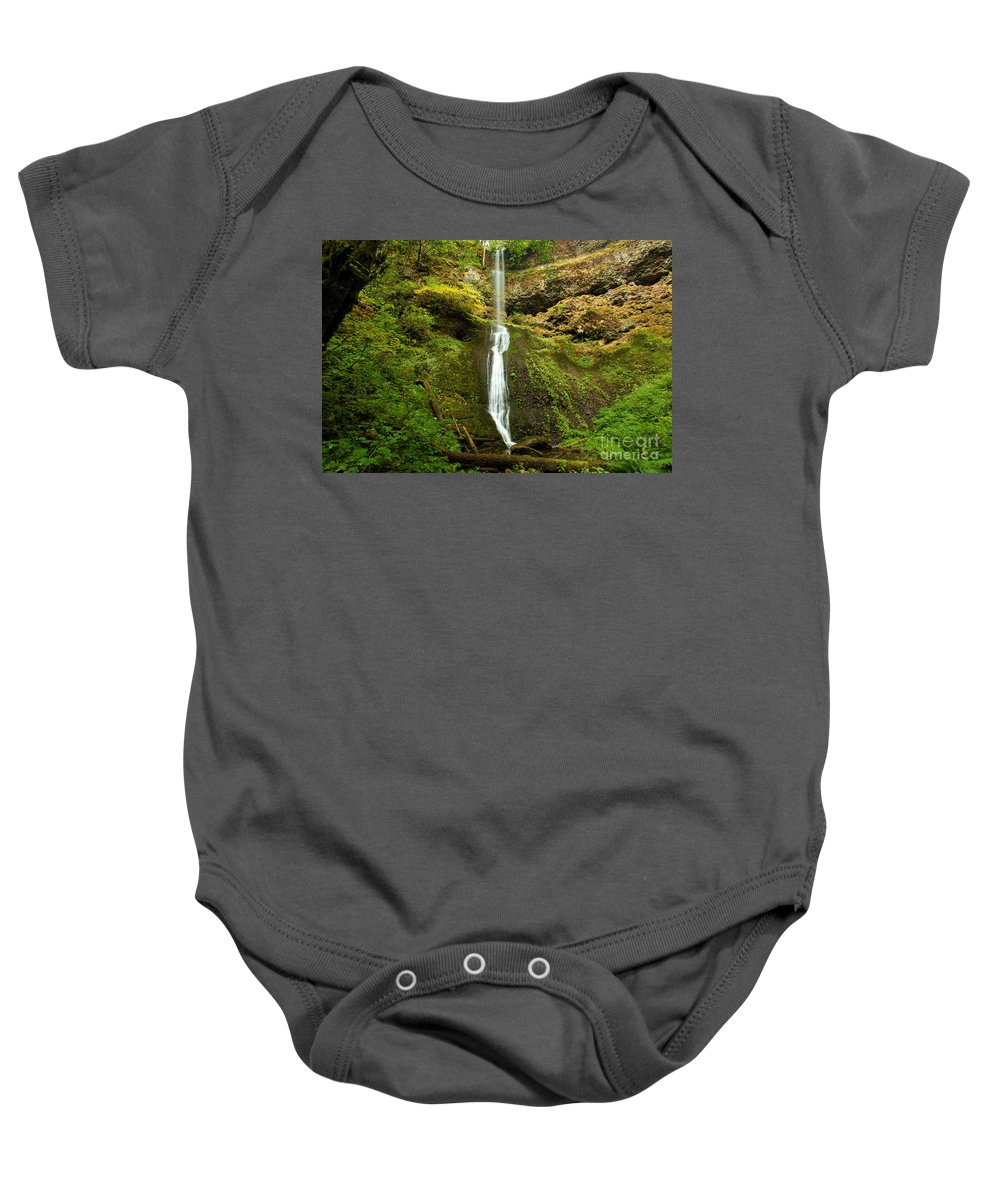 Winter Falls Baby Onesie featuring the photograph Winter Falls by Adam Jewell
