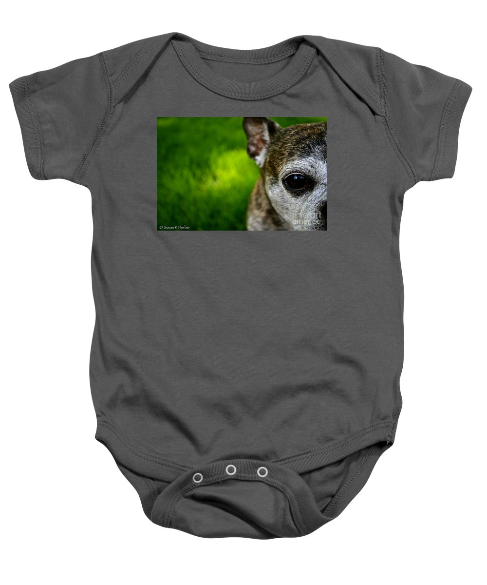 Animal Baby Onesie featuring the photograph Wise Eye by Susan Herber