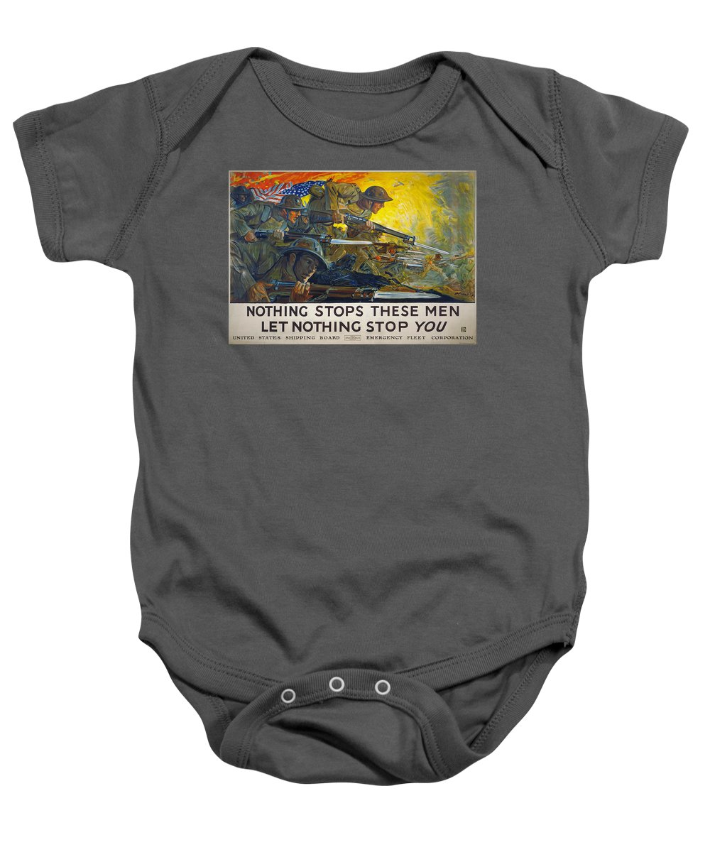 1918 Baby Onesie featuring the photograph World War I: Poster, 1918 by Granger